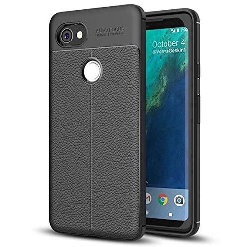 Bounceback ® Google Pixel 2 XL Case Shock Proof Anti Slip Leather Pattern Armor Soft TPU Back Cover for Google Pixel 2XL (Carbon Black)