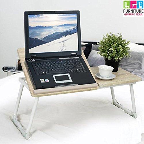 BAKAJI Tavolino Vassoio da Letto Divano per Notebook PC Laptop Pieghevole Leggio 65x30cm, Tavolino...