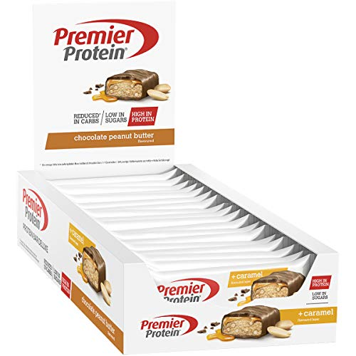 Premier Protein - Protein Bar Deluxe, Eiweißriegel, mit hohem Proteingehalt 40{64817ab491f023f7a71c4a54853d086b0bb4f8db862f2071d7fe6aa1a5b63133}, kohlenhydratreduziert - Chocolate Peanut Butter (18x50g)