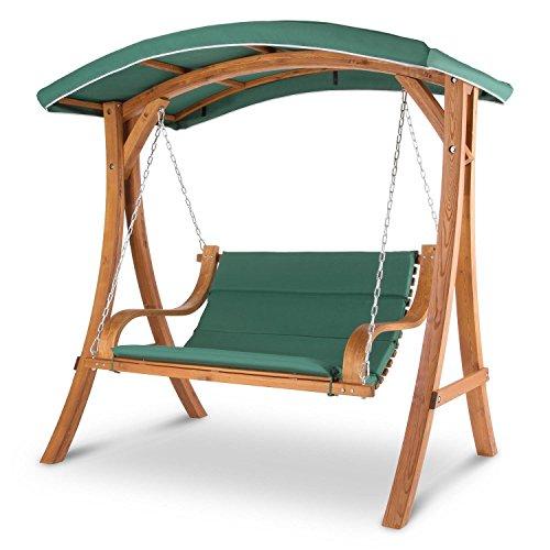 Blumfeldt Tahiti Hollywoodschaukel Gartenschaukel (110 cm breite Sitzfläche, Sonnendach, Lärchen-Holz, Edelstahl-Ketten, bis max. 250 kg, inkl. Polyester Sitz-Kissen) grün