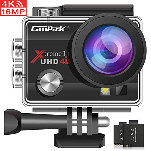 Campark 4K Action Cam 16MP Wi-Fi Action Camera Impermeabile 30M con 2 Batterie Custodia Impermeabile...