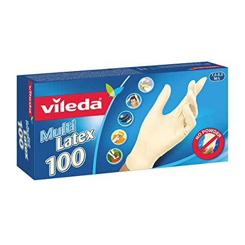 Vileda Multilatex 100 Guanti Usa e Getta, in Lattice, senza Polveri, Taglia M/L