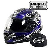 Yorbay Motorradhelm Integralhelm Sturzhelm Helm mit verschienden Typen & in unterschiedlichen Größen (Blau, XL)