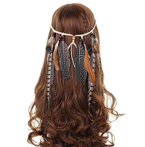 AWAYTR Mädchen Hippie Boho Feder-Stirnband für Abendkleider Halloween