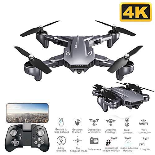 RR-Drone Drone Pieghevole con Doppia Fotocamera 4K WiFi FPV Selfie Grandangolo Flusso Ottico Posizionamento RC Quadcopter Giocattoli per Elicotteri