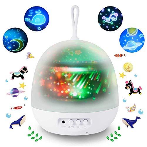 Lampada Proiettore per bambini,Sunnest 4 in 1 Lampada Proiettore di Stella ed Oceano con 8...