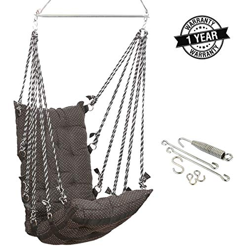 Smartbeans Hammock Swing with Accessories,Jhula Swing Chair Ideal for Both Kids and Adults,Cotton Hanging Hammock Suitable for Indoor, Outdoor, Balcony, Home, Bedroom - Capacity 150 Kg (Black)