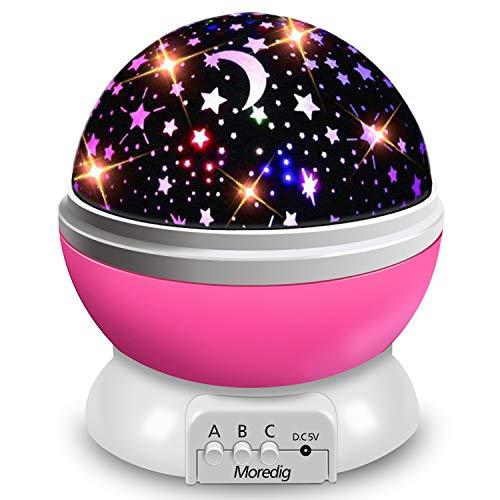 Moredig - lampada stelle proiettore, 360 Gradi Rotazione Proiettore Stelle con 8 Modalità Romantica...