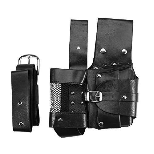 brrnoo Walfou Professional Salon Hair Care Styling Tools Barber Scissor Comb Holder PU Leather Holster Pouch Case with Removable Waist Belt (Black)