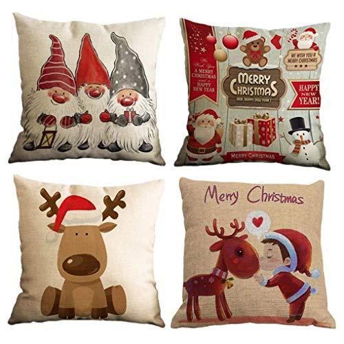 Yidaxing Natale Federa per Cuscini Cotone Biancheria 4 Pack Buon Natale Babbo Alce per divani Decorativo Biancheria Cuscino copricuscini Divano Caso Federa(45x45cm)