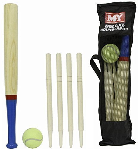 M.Y Deluxe 6 Piece Wooden Rounders Set & Carry Bag. Organising a game of rounders is a great way to help prevent the summer brain drain for kids on school summer holiday