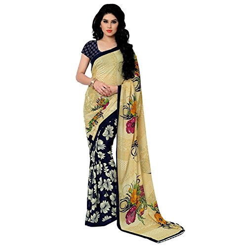 Sarees (Women sarees Blue and yellow color Georgette Clothing for women and girls Free Size )