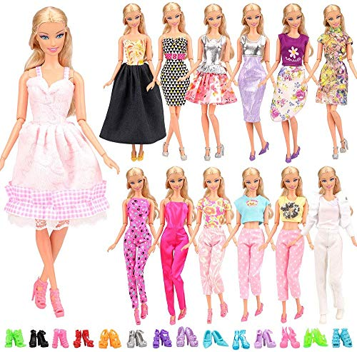Miunana 15 Pezzi = 5 PCS Fatti A Mano Principessa Abiti Vestiti alla Moda Fashion + 10 PCS Scarpe...