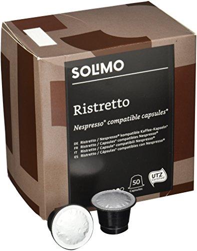 Marca Amazon - Solimo Cápsulas Ristretto, compatibles con Nespresso - café certificado UTZ, 100 cápsulas (2 x 50)