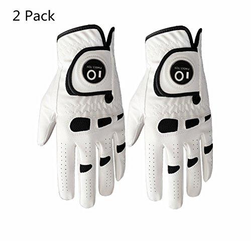 Finger Ten Guanto da Golf da Uomo, Mano Sinistra Destra con Ball Marker Value 2Pack, Weathersof...
