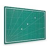 PRETEX Schneidematte 45 x 30 cm (A3) aus recyceltem PVC in grün mit selbstschließender, selbstheilender Oberfläche | 2 Jahre Zufriedenheitsgarantie | Schneideunterlage, Cutting Mat