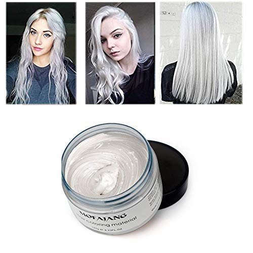BeeShine Ivory White: Hair Coloring Wax, Ivory White Disposable Mofajang Instant Matte Hairstyle Mud Cream Hair Pomades For Kids Men Women To Cosplay Nightclub Masquerade Transformation