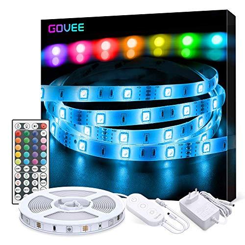 Govee Striscia LED 5M RGB 5050 SMD Kit di Striscia Luminosa con Telecomando e Scatola di Controllo per la Camera da Letto, Soffitto, Design di Taglio, Facile Installazione