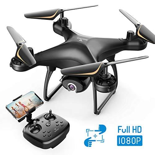 SNAPTAIN SP650 Drone con Telecamera 1080P FHD per Principianti, Controllo Vocale, Controllo dei Gesti, Volo Circolare, Rotazione ad Alta velocità, modalità Hovering, Modaliità Headless