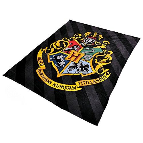 Harry Potter - Coperta in ratina stemma Hogwarts 200 x 220 cm Elbenwald nero e giallo