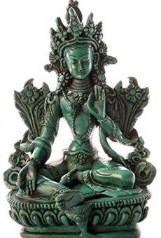 BUDDHAFIGUREN/Billy Held Diseño de Buda de Figuras de – el Verde de Tara 15 cm de Poliuretano de Colour Turquesa de Buda Estatua de Buda de la decoración Tibetano Bodhisattva Hecho a Mano en Nepal