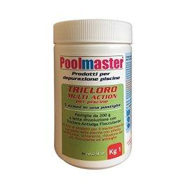New Plast 0960 – Tricloro in Pastiglie da 200 g per Acqua Piscina, Formula 5 Azioni, Barattolo 1 kg