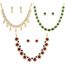 Touchstone Combo of White, Red and Green Alloy Metal Necklace Sets for Women