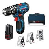 Bosch GSB Professional 12V-15 - Taladro percutor (2 velocidades, 12 V, con 2 baterías 2,0 + cargador + 39 accesorios + bolsa) color negro y azul