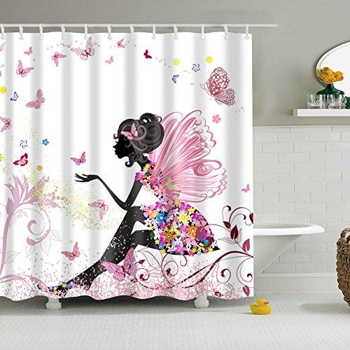 Etopfashion 60 x 71 Pulgadas De Moda Chica Rosa Flor De Hadas Con La Mariposa Cortinas Blancas Ideas-Ducha De Fondo Cortina De Tela De Ducha