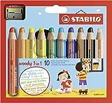 Lápiz de color multitalento STABILO Woddy 3 en 1 - Estuche con 10 colores y sacapuntas