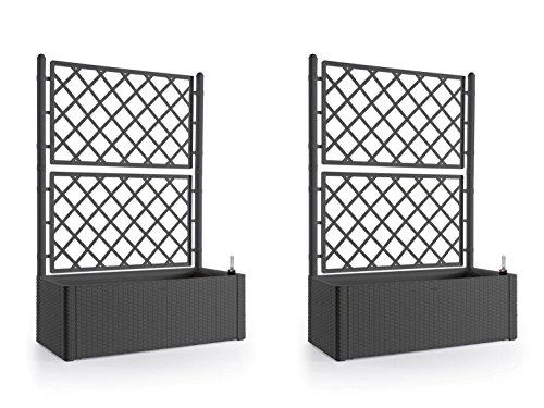 Kreher 2 Stück XL Rankgitter, Spalier mit Pflanzkasten in moderner Rattan-Optik aus Robustem Kunststoff in Anthrazit/Grau. Maße BxTxH in cm: 100 x 43 x 142 cm. Topp für Garten, Terrasse und Balkon!