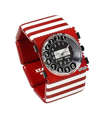 S.T.A.M.P.S. Stamps Uhr KOMPLETT - Zifferblatt Call me auf Belta Stripes Red White