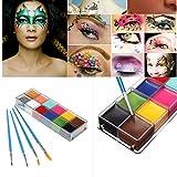 Luckyfine Pinturas Corporales y Cara, Body Paint, Maquillaje Halloween Carnaval Set, 12 Colores + 4 Cepillos