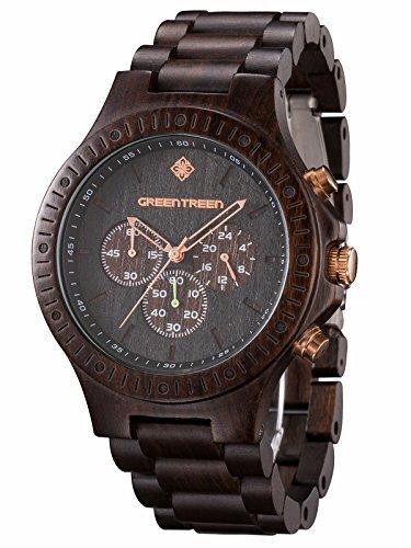 GREENTREEN Orologio ebano impermeabile multifunzione uomo cronografo legno orologi in 5ATM...
