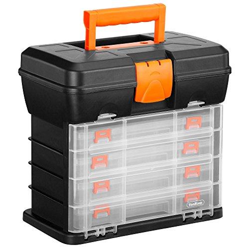 VonHaus Cassetta Porta Attrezzi Organizer Con 4 Cassetti Trasparenti E Divisori Regolabili - Nero - Ideale Per Lavoretti O Hobby