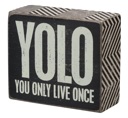 Primitives By Kathy Box Sign, 4 by 3.5-Inch, YOLO