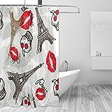 Cortinas de ducha impermeable moho a prueba de molde resistente al Vintage París Torre Eiffel impreso lavable cortina de baño de poliéster con resistente ganchos para baño decoración del hogar accesorios 66x 72inch