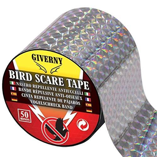 Giverny 50m Vogelabwehr Vogelband zur Abschreckung, Abwehrband Vogel Band Reflexion Reflektorband zur Vogelabwehr