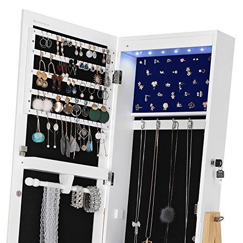 SONGMICS Schmuckschrank mit LED-Beleuchtung, abschließbarer und freistehender Schmuckorganizer, Ganzkörperspiegel, im Skandinavischen Stil, Beine aus Massivholz, weiß&kieferfarben, JBC72WN - 5