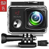 Victure Action Cam 4K 20MP WiFi Touch Screen Ultra Full HD 30 Meters Unterwasserkamera Einstellbare 170°Fischaugen-Linse EIS Sports Kamera 2×1350mAh Ersatzbatterien mit Halterungs-Kit