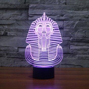 3D Illusion Egipto esfinge Faraon Lámpara luces de la noche ajustable 7 colores LED Creative Interruptor táctil estéreo visual atmósfera mesa regalo para Navidad 3