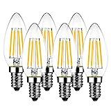 6er Pack E14 Kerze LED Lampe für Kronleuchter, E14 Glühfaden Retrofit Classic, 4W 470 Lumen ersetzt 40 Watt, 2700K Warmweiß, Filament Fadenlampe, Glas, nicht dimmbar, 3 Jahre Garantie - LVWIT
