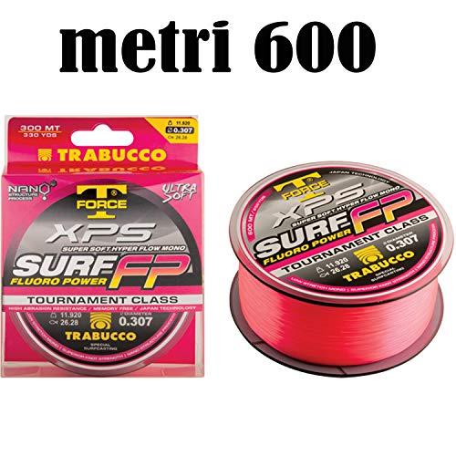 Generico Filo Pesca surfcasting trabucco xps Surf FP Metri 600 Alta visibilita Rosso Mare (0,25)
