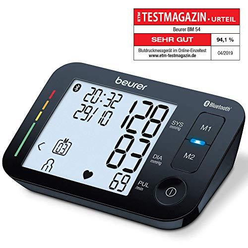 Oberarm-Blutdruckmessgerät BM 54 Beurer | digitaler Blutdruckmesser mit XL-Display, schwarz | Bluetooth  & großes Display | Arrhythmie-Erkennung | große Manschette für Oberarmumfänge 22 - 44 cm