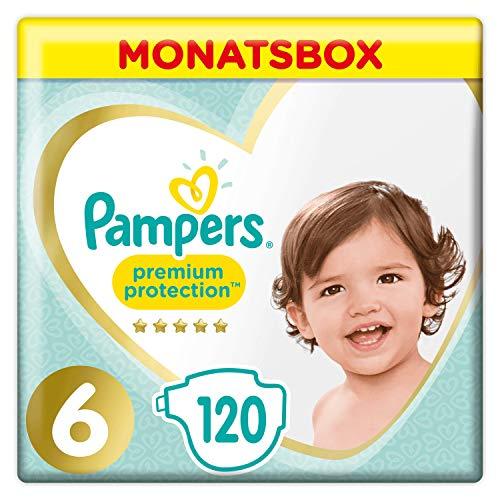 Pampers Premium Protection Size 6, 120 Pannolini, Pampers 'Softest Comfort, consigliato da British Skin Foundation, 13 kg +