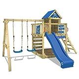 WICKEY Spielturm Smart Cave Kletterturm Spielhaus auf Podest mit Schaukel und Rutsche, großem Sandkasten, Kletterwand und Kletterleiter