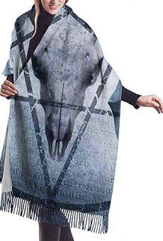 Elaine-Shop Ilustraciones de bufanda grande con ícono de pentagrama Cráneo de cabra Diablo Sueño con capucha Figura…