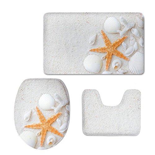 Chaqlin - Set di tappetini da bagno in 3 pezzi, in flanella resistente, con disegni di stelle marine...