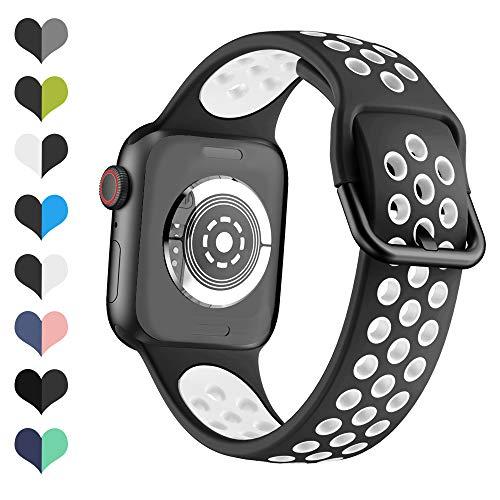 Yayuu Compatibile per Cinturino Apple Watch 38mm 40mm Cinturino Sportivo di Ricambio Traspirante Bicolore in Silicone Morbido per iWatch Series 5,4,3,2,1, Sport, Edizione per Donna Uomo