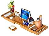 Bandeja para Bañera,Rixow Extensible Bandeja para Bañera de Bambú con Soporte para Taza Copa de Vino, Libros, Tablet y móvil